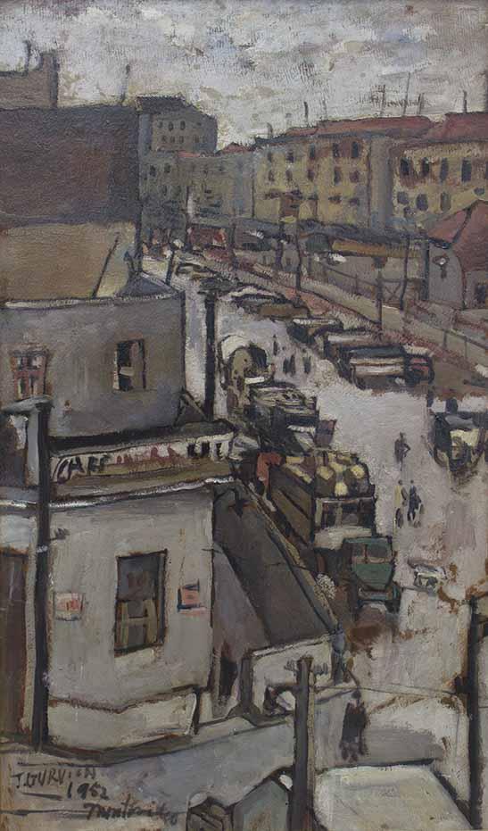 """JOSE GURVICH (1927-1974) """"VISTA DE LA CIUDAD VIEJA DESDE EL ATELIER DEL ARTISTA""""  Oleo sobre cartón; 86 x 50,5 cm.  Firmado y fechado 1952 y ubicado Montevideo abajo a la izquierda. POR CONSULTAS DE PRECIOS, CONTACTE LA GALERIA. FOR PRICE´S ENQUIRIES, PLEASE CONTACT THE GALLERY."""
