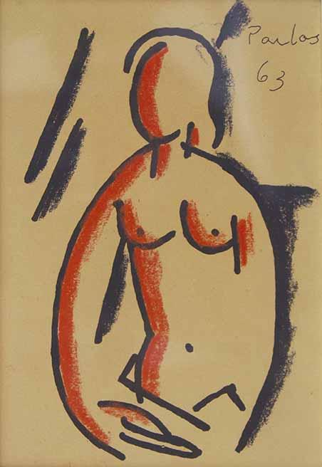 """MANUEL PAILOS (1918 – 2004) """"DESNUDO FEMENINO"""" Técnica mixta sobre papel; 16 x 11 cm. Firmado y fechado  ́63 arriba a la derecha. POR CONSULTAS DE PRECIOS, CONTACTE LA GALERIA. FOR PRICE´S ENQUIRIES, PLEASE CONTACT THE GALLERY."""