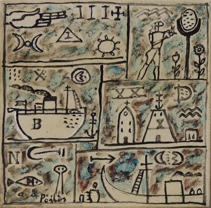"""MANUEL PAILOS (1918 – 2004) """"CONSTRUCTIVO"""" Oleo sobre baldosa; 15 x 15 cm. Firmado abajo a la izquierda. POR CONSULTAS DE PRECIOS, CONTACTE LA GALERIA. FOR PRICE´S ENQUIRIES, PLEASE CONTACT THE GALLERY."""