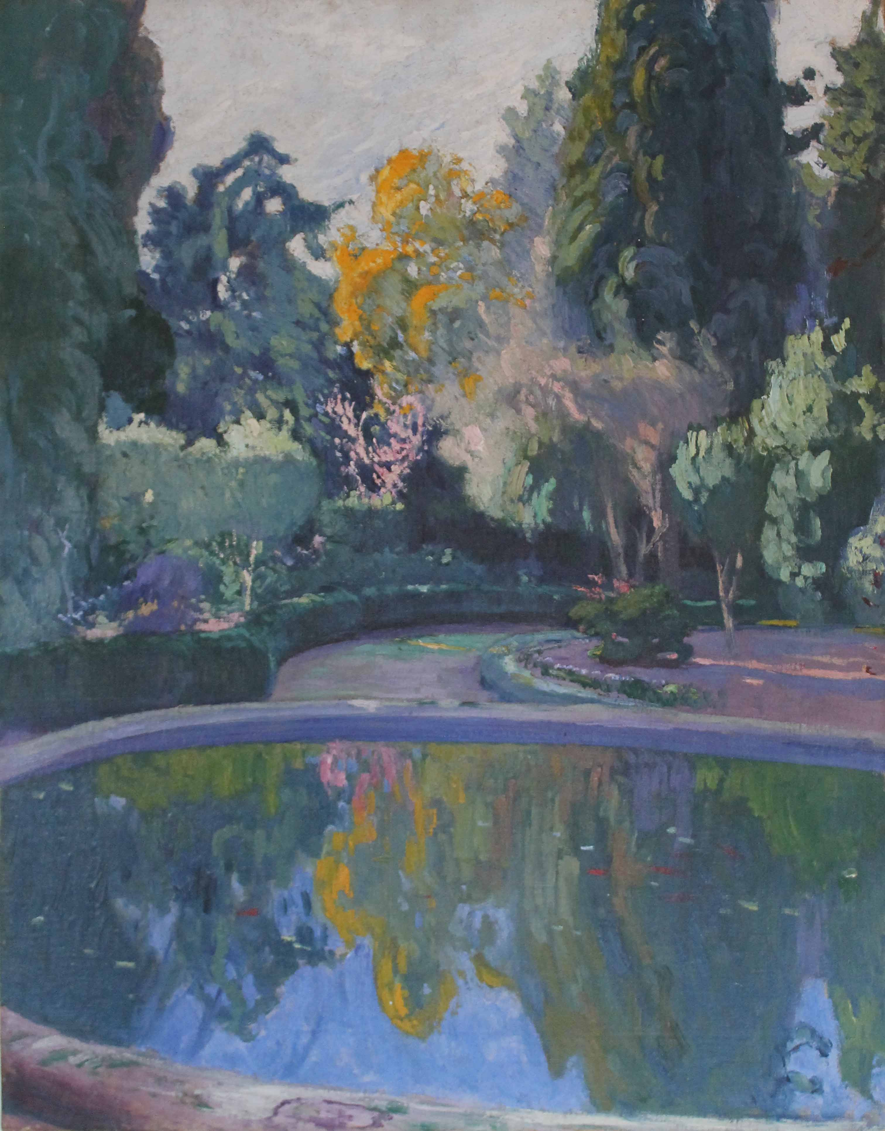 "PEDRO BLANES VIALE (1879 - 1926) ""FUENTE Y JARDIN DEL PRADO"" Oleo sobre tela; 50 x 40 cm. POR CONSULTAS DE PRECIOS, CONTACTE LA GALERIA. FOR PRICE´S ENQUIRIES, PLEASE CONTACT THE GALLERY."