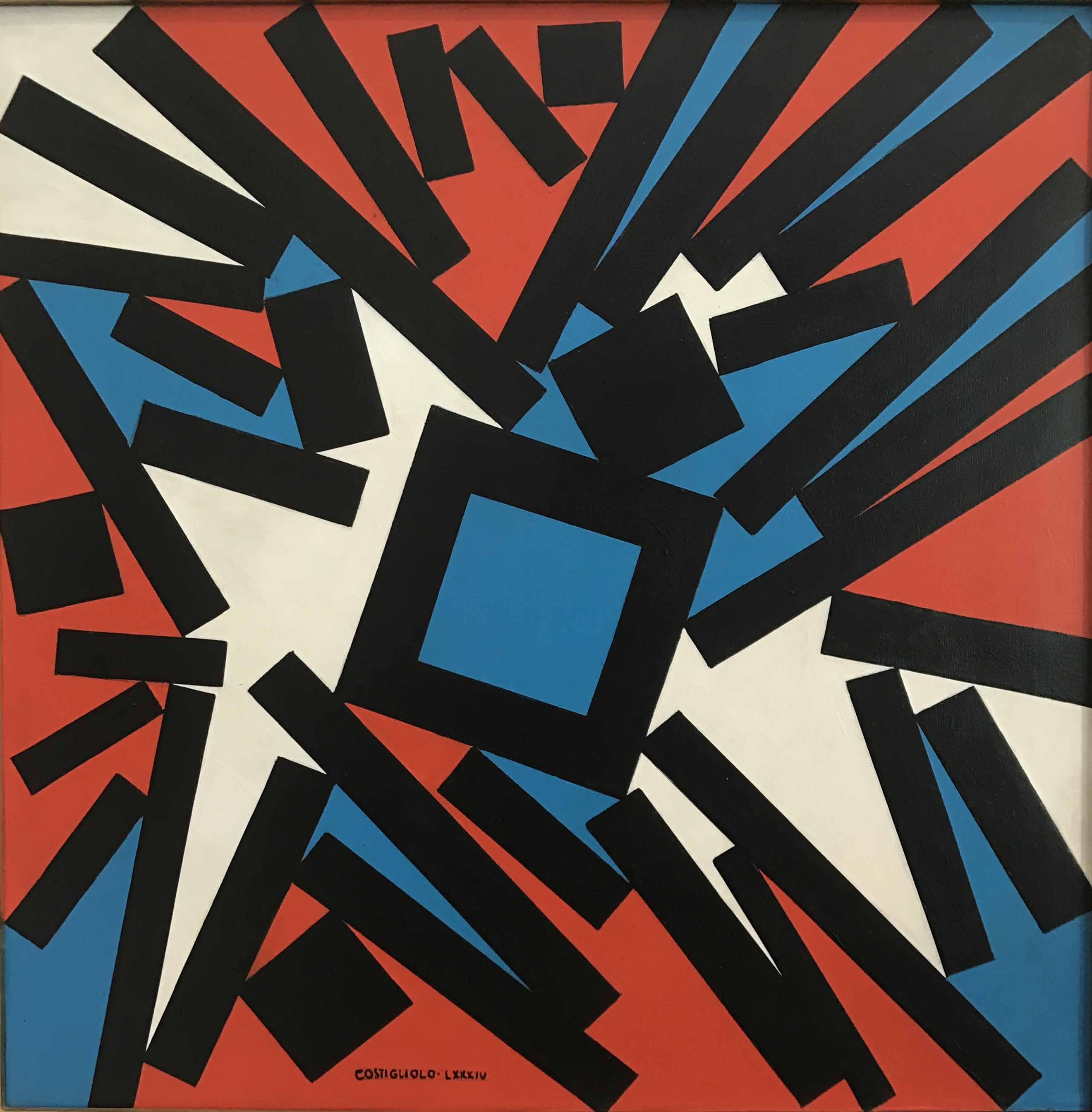 """JOSE PEDRO COSTIGLIOLO (1902 - 1985)  """"CUADRADOS Y RECTANGULOS""""  Acrílico sobre tela; 60 x 60 cm.  Firmado y fechado LXXXIV abajo en el centro  Al dorso  Firmado y fechado 1984, titulado y medido. POR CONSULTAS DE PRECIOS, CONTACTE LA GALERIA. FOR PRICE´S ENQUIRIES, PLEASE CONTACT THE GALLERY."""