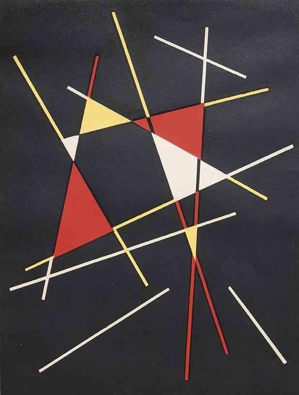 """JOSE PEDRO COSTIGLIOLO (1902 - 1985) """"TRIANGULOS Y LINEAS"""" Serigrafía; 38 x 28 cm. Firmado abajo a la derecha. POR CONSULTAS DE PRECIOS, CONTACTE LA GALERIA. FOR PRICE´S ENQUIRIES, PLEASE CONTACT THE GALLERY."""