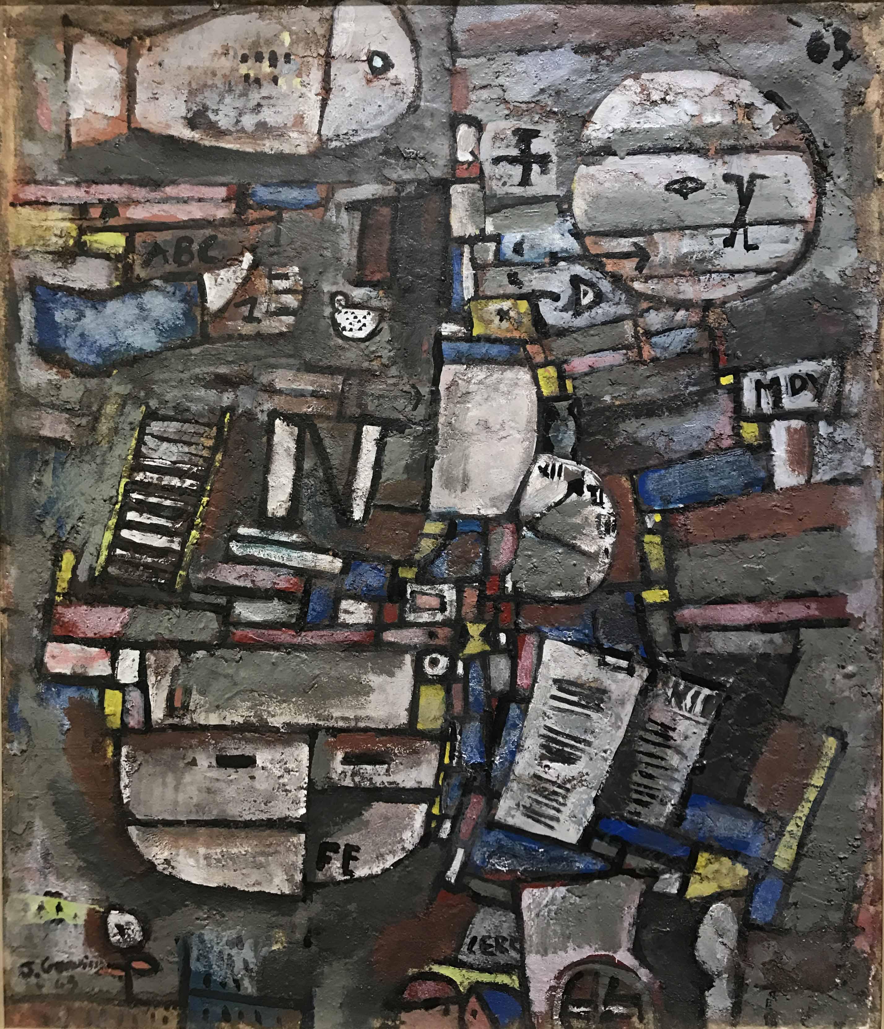 """JOSE GURVICH (1927 - 1974) """"COMPOSICION FE"""" Oleo sobre tela; 45,5 x 37,5 cm. Firmado y fechado ´63. Certificado por Martín Gurvich, Fundación José Gurvich, Montevideo - Uruguay. POR CONSULTAS DE PRECIOS, CONTACTE LA GALERIA. FOR PRICE´S ENQUIRIES, PLEASE CONTACT THE GALLERY."""