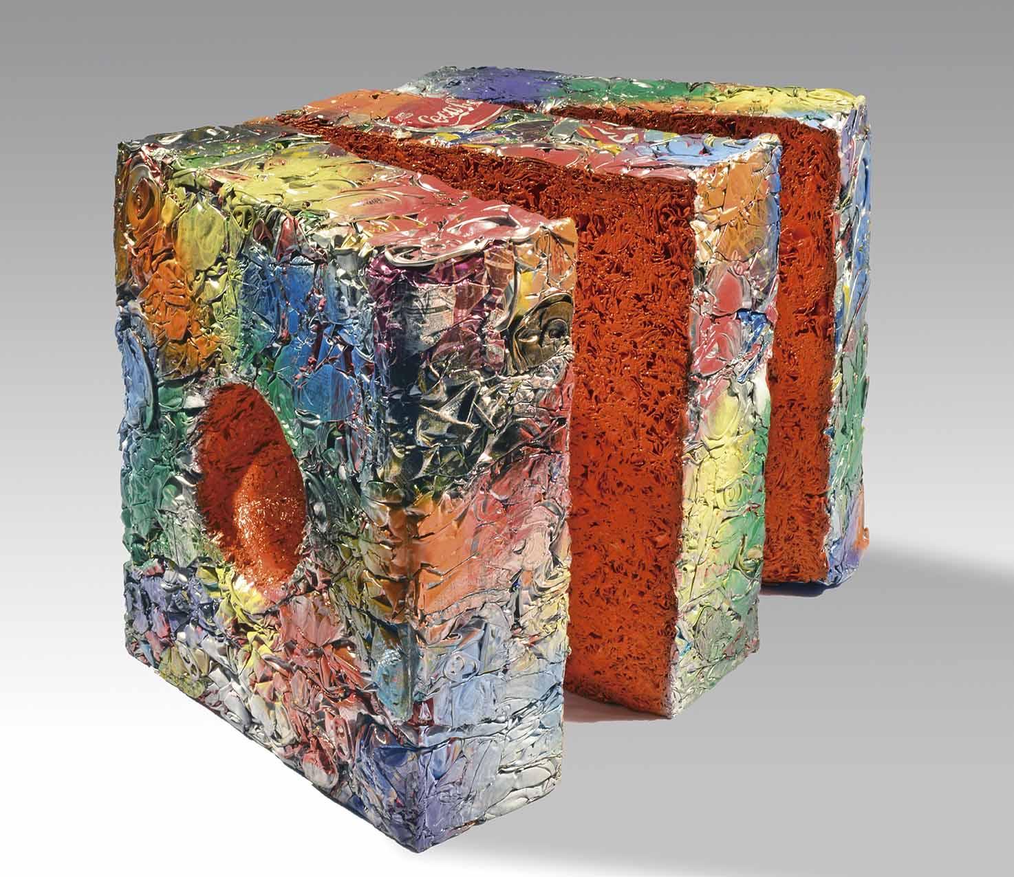 """JULIO TESTONI (Nac. 1948) """"MATERIA Y FORMA"""" Técnica mixta, latas compactadas y pintadas; 33 x 33 x 12cm. Firmado en el borde inferior. POR CONSULTAS DE PRECIOS, CONTACTE LA GALERIA. FOR PRICE´S ENQUIRIES, PLEASE CONTACT THE GALLERY."""
