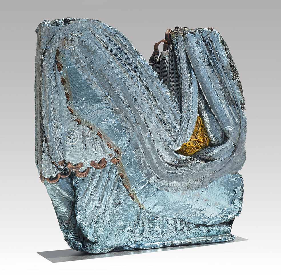 """JULIO TESTONI (Nac. 1948) """"RADIADOR CELESTE Y AMARILLO"""" Serie materia y forma Materiales compactados y pintados; 43 x 40 x 8 cm. Firmado en la base. POR CONSULTAS DE PRECIOS, CONTACTE LA GALERIA. FOR PRICE´S ENQUIRIES, PLEASE CONTACT THE GALLERY."""