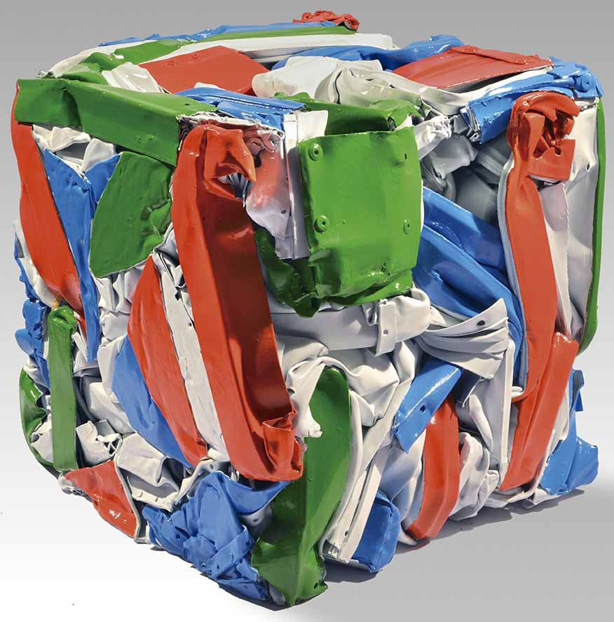"""JULIO TESTONI (Nac.1948) """"MATERIA Y FORMA"""" Técnica mixta, latas compactadas y pintadas; 33 x 33 cm. POR CONSULTAS DE PRECIOS, CONTACTE LA GALERIA. FOR PRICE´S ENQUIRIES, PLEASE CONTACT THE GALLERY."""