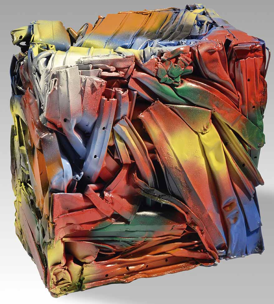 """JULIO TESTONI (Nac.1948) """"MATERIA Y FORMA"""" Técnica mixta, latas compactadas y pintadas; 36 x 36 cm. POR CONSULTAS DE PRECIOS, CONTACTE LA GALERIA. FOR PRICE´S ENQUIRIES, PLEASE CONTACT THE GALLERY."""