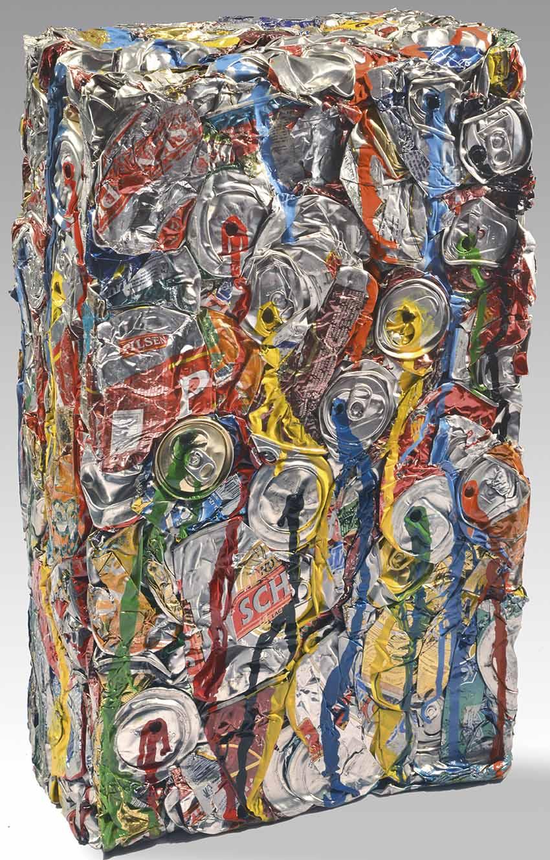 """JULIO TESTONI (Nac.1948) """"MATERIA Y FORMA"""" Técnica mixta, latas compactadas y pintadas; 50 x 30 x 14 cm. Firmado en el borde inferior. POR CONSULTAS DE PRECIOS, CONTACTE LA GALERIA. FOR PRICE´S ENQUIRIES, PLEASE CONTACT THE GALLERY."""