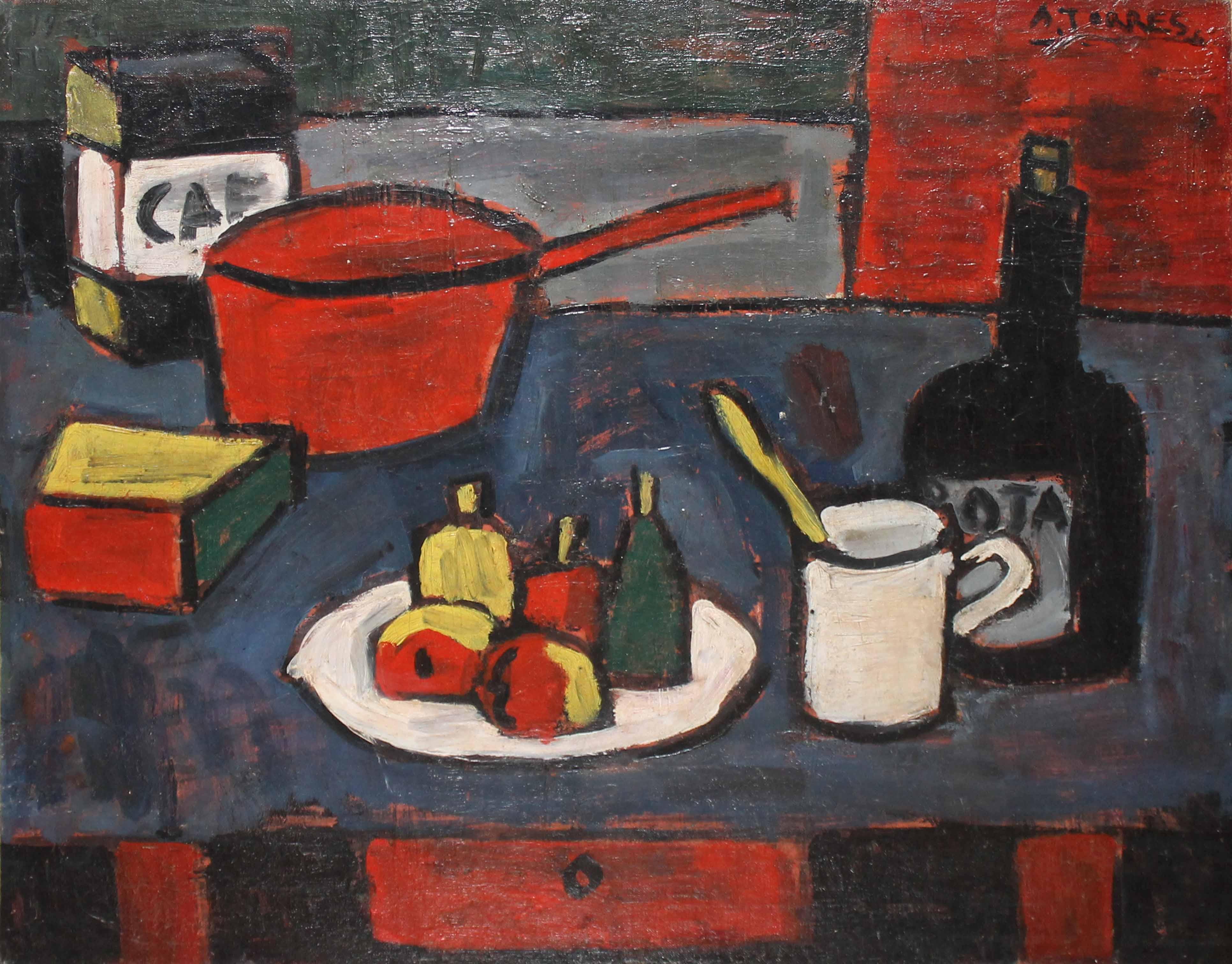 """AUGUSTO TORRES (1913 - 1992) """"NATURALEZA MUERTA CON CACEROLA ROJA"""" Oleo sobre tela; 50 x 61 cm. Firmado arriba a la derecha.  POR CONSULTAS DE PRECIOS, CONTACTE LA GALERIA. FOR PRICE´S ENQUIRIES, PLEASE CONTACT THE GALLERY."""