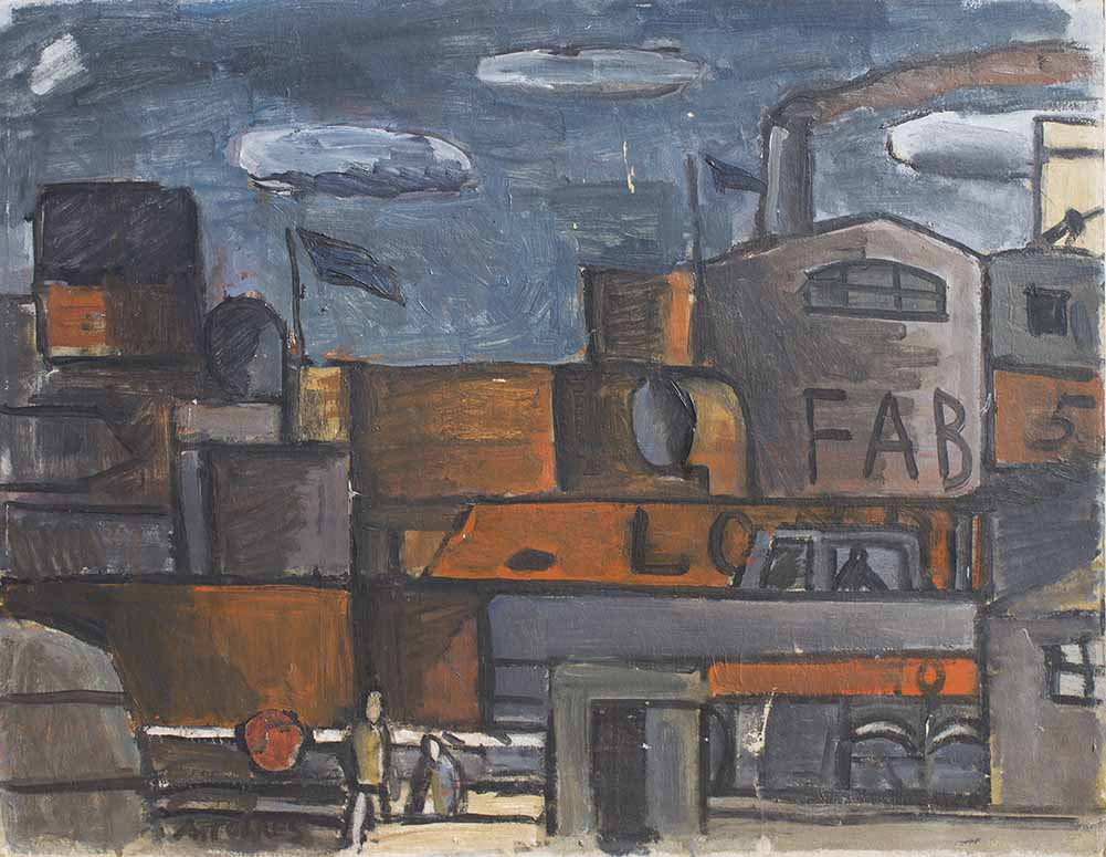 """AUGUSTO TORRES (1913 – 1992) """"PUERTO DE MONTEVIDEO CONSTRUCTIVO"""" Oleo sobre cartón; 52 x 66 cm. Firmado abajo a la izquierda. POR CONSULTAS DE PRECIOS, CONTACTE LA GALERIA. FOR PRICE´S ENQUIRIES, PLEASE CONTACT THE GALLERY."""