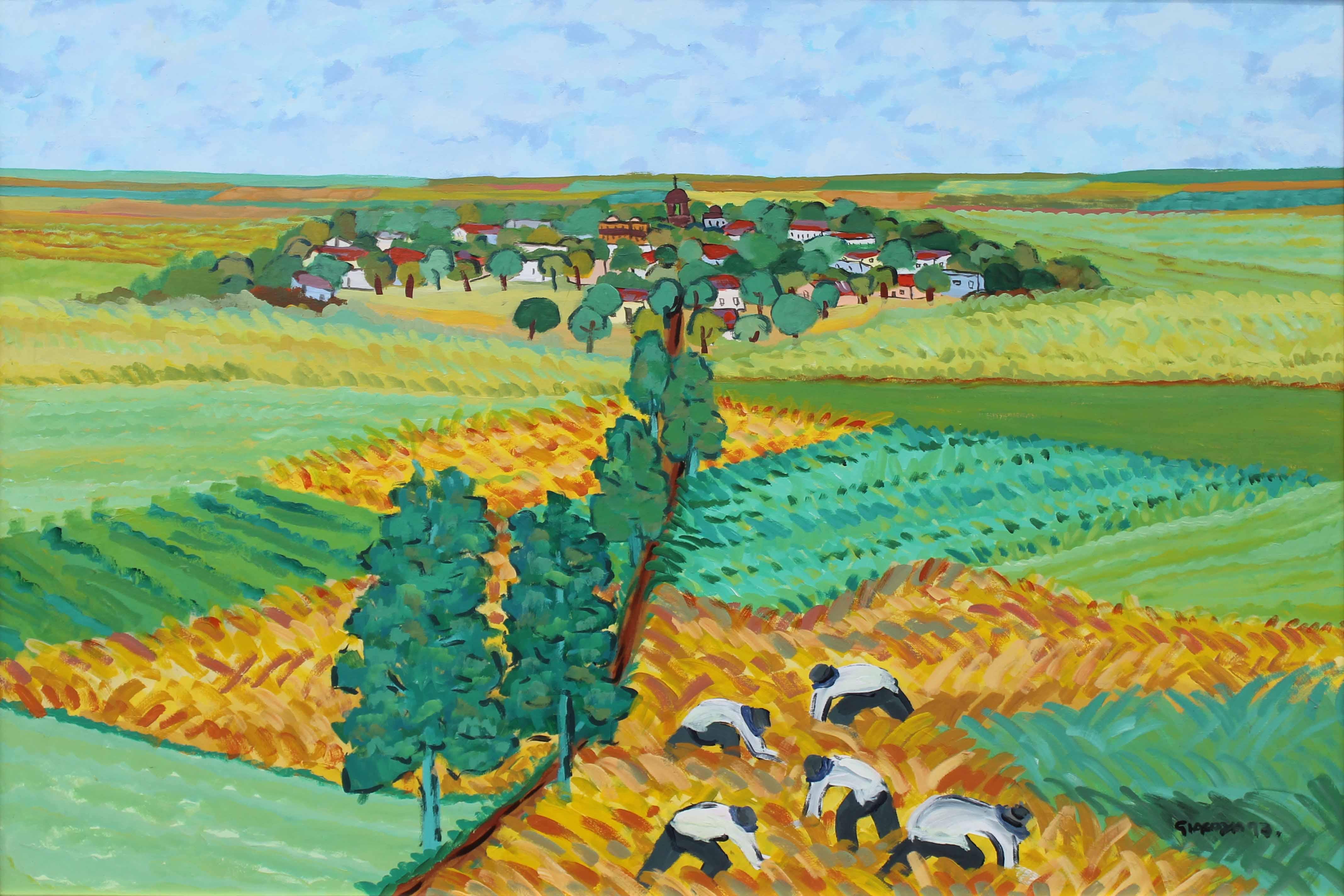 """MARIO GIACOYA (Nac. 1951) """"PAISAJE DE CAMPO CON COSECHADORES DE TRIGO Y PUEBLO"""" Oleo sobre tela; 100 x 132 cm. Firmado y fechado ´97 abajo a la derecha."""